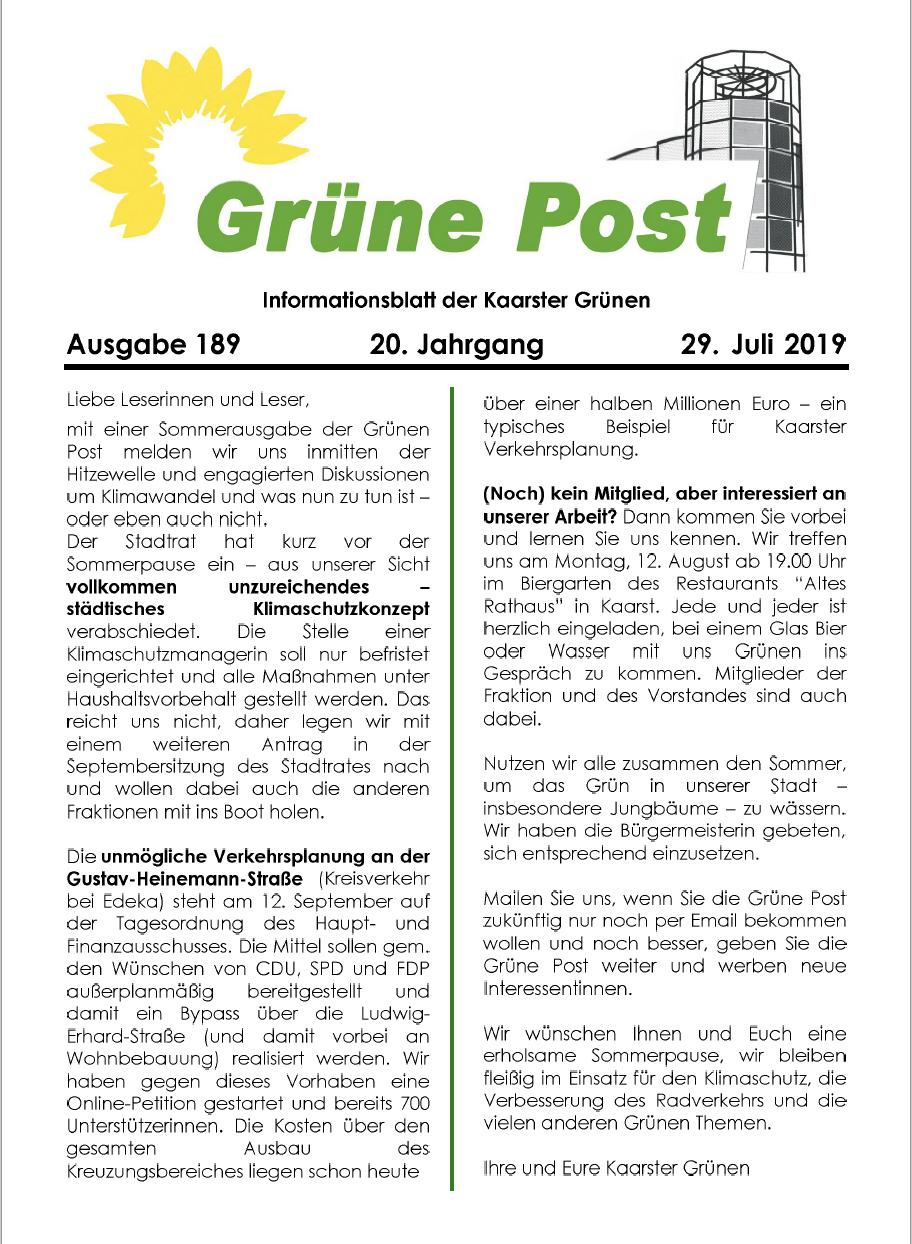 GRÜNE POST Ausgabe 189 Juni/Juli 2019