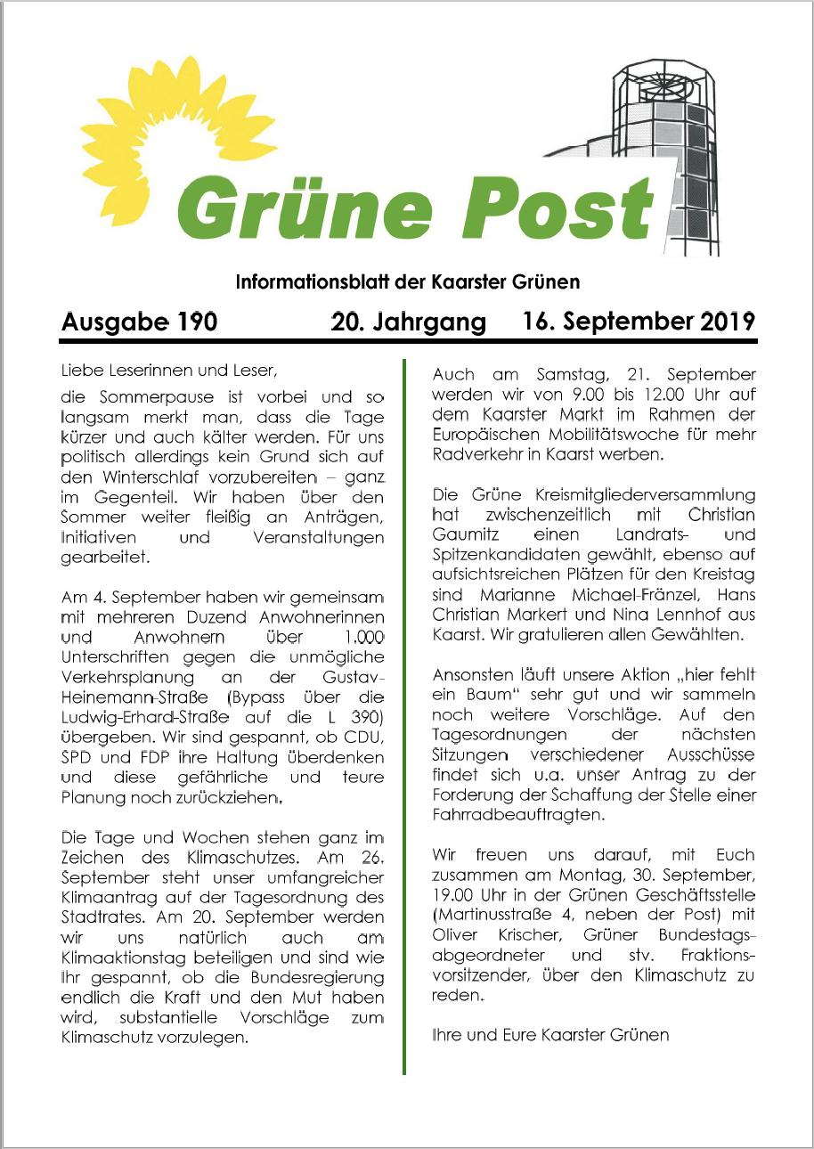 GRÜNE POST Ausgabe 190 August/September 2019