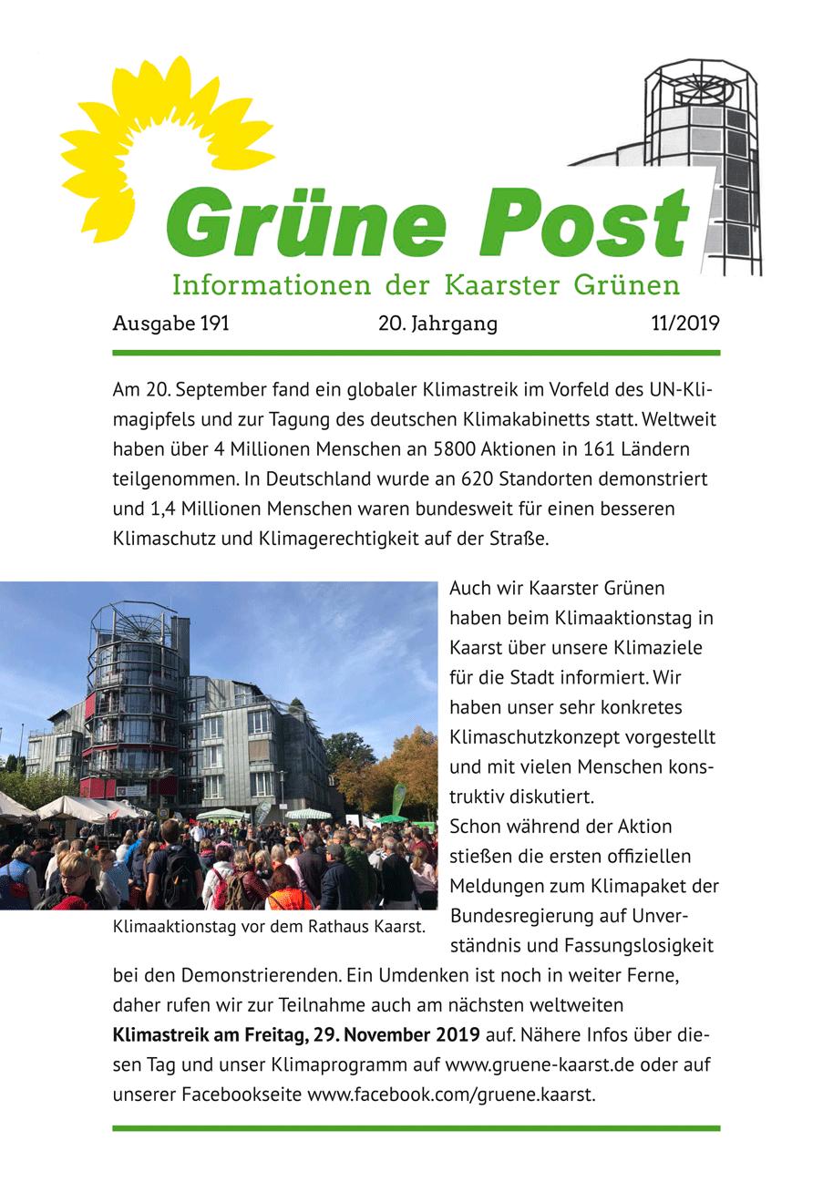 GRÜNE POST Ausgabe 191, Herbst 2019