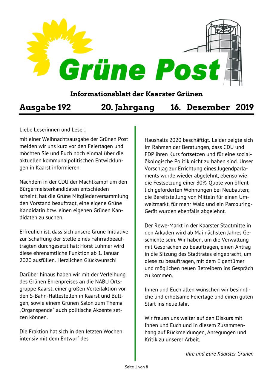 GRÜNE POST Ausgabe 192, Dezember 2019