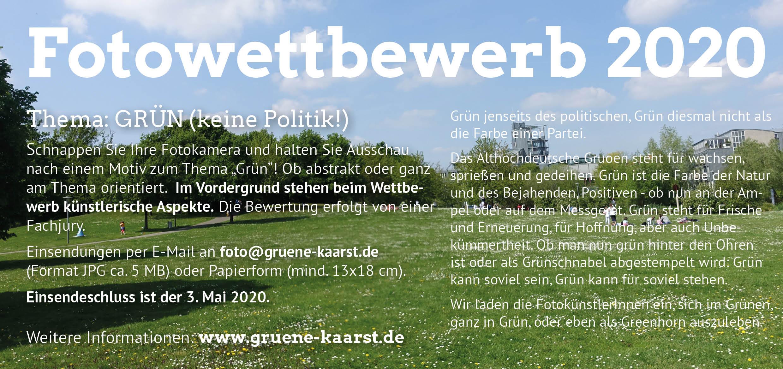 AUF FRÜHJAHR 2021 VERSCHOBEN: Fotowettbewerb: Thema GRÜN (keine Politik!)
