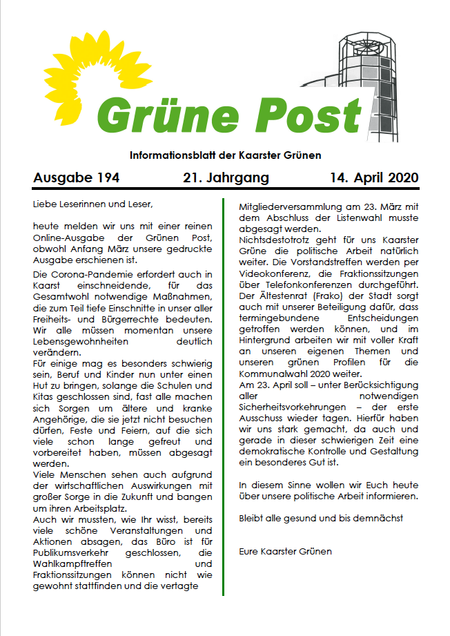 GRÜNE POST Ausgabe 194, April 2020