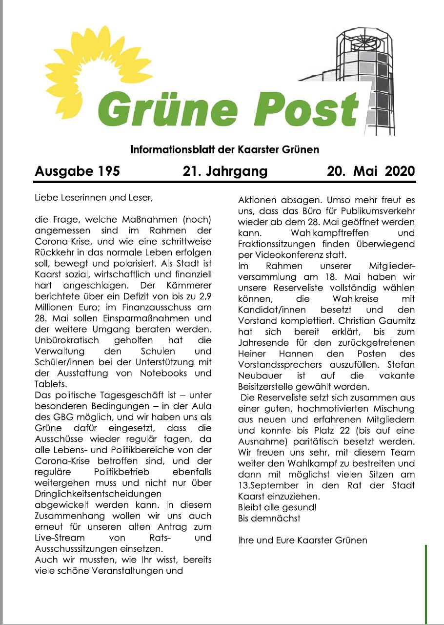 GRÜNE POST Ausgabe 195 – Mai 2020