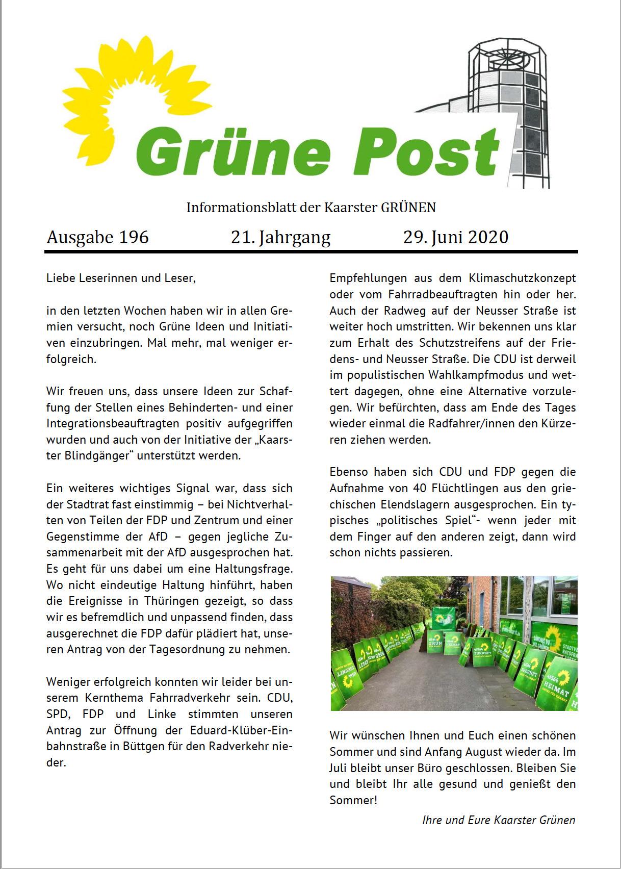 GRÜNE POST Ausgabe 196 – Juni 2020