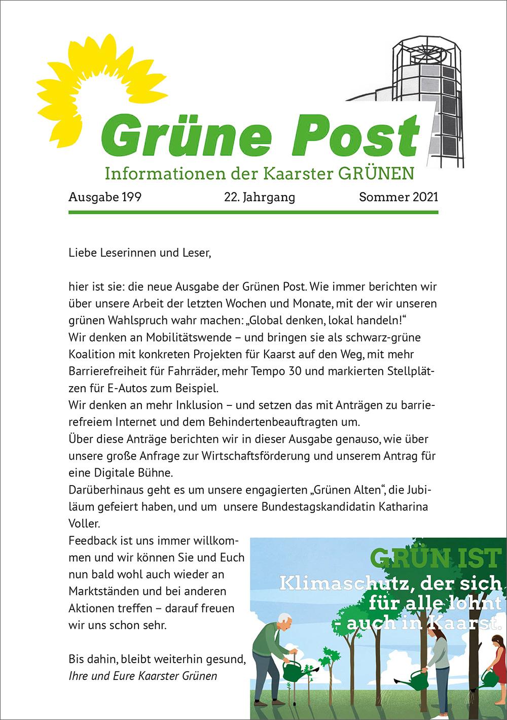 GRÜNE POST Ausgabe 199 – Sommer 2021
